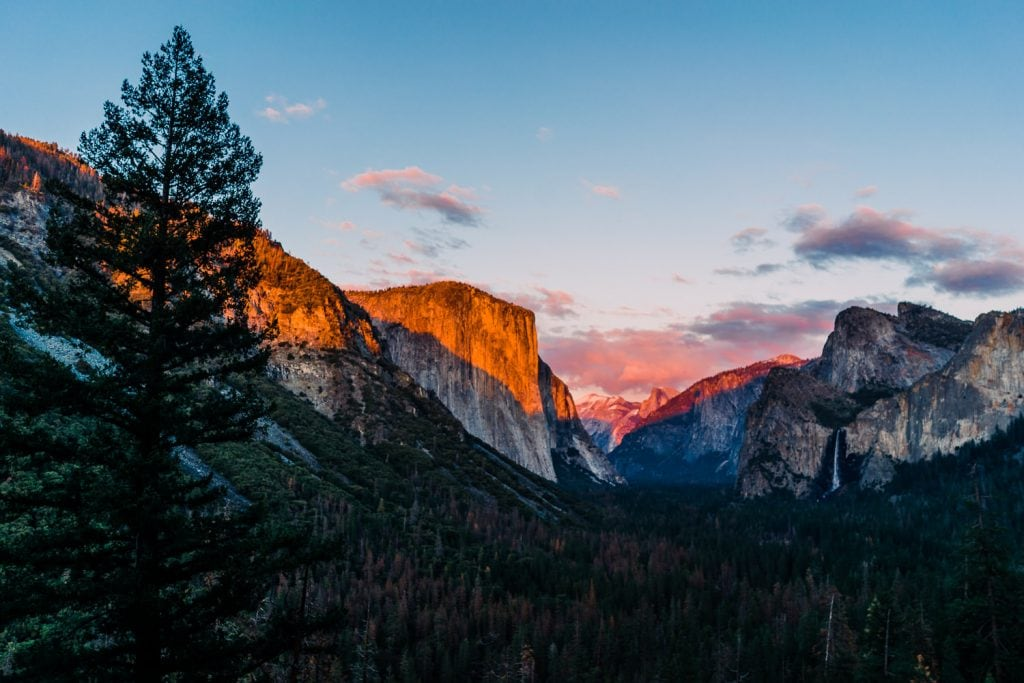 Valley View in Yosemite National Park at sunset