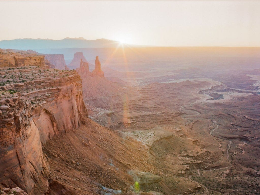 sunrise elopement in Moab, UT | Canyonlands National Park at sunrise on film | Portra 400
