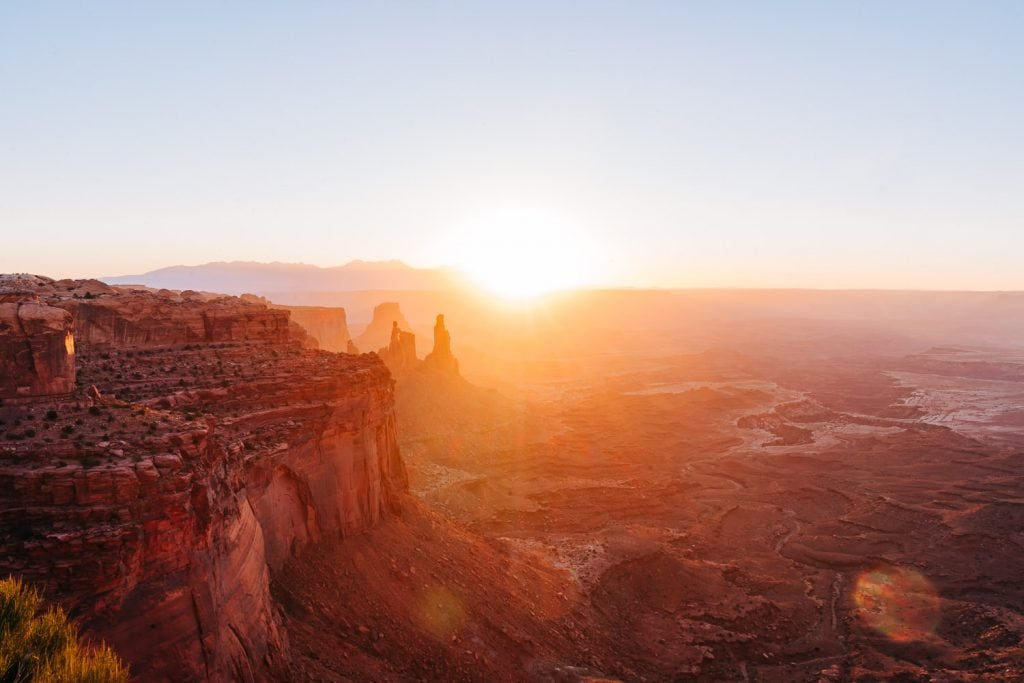 sunrise at Grand View Point in Canyonlands National Park, Utah