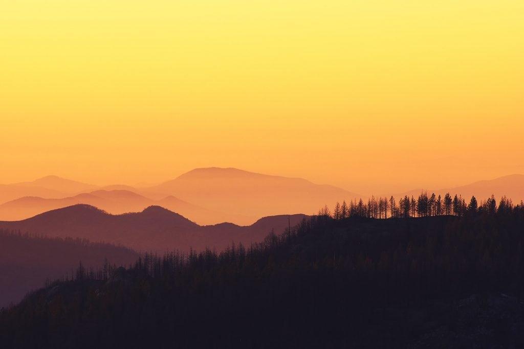 sunset at Kings Canyon National park