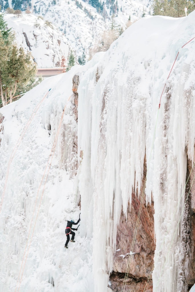 climbing the ice in Ouray