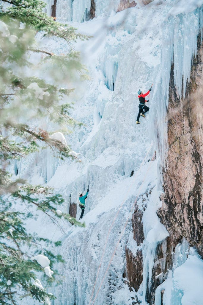 ice climber high in the gorge above Ouray, Colorado