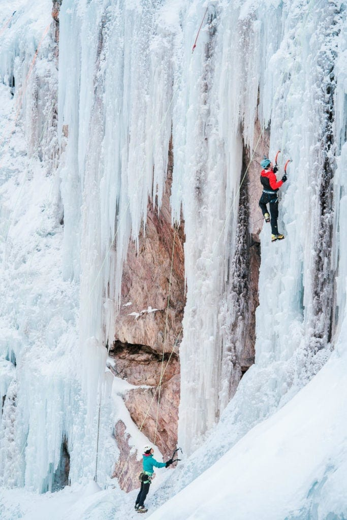 ice climbers scale the walls near Ouray