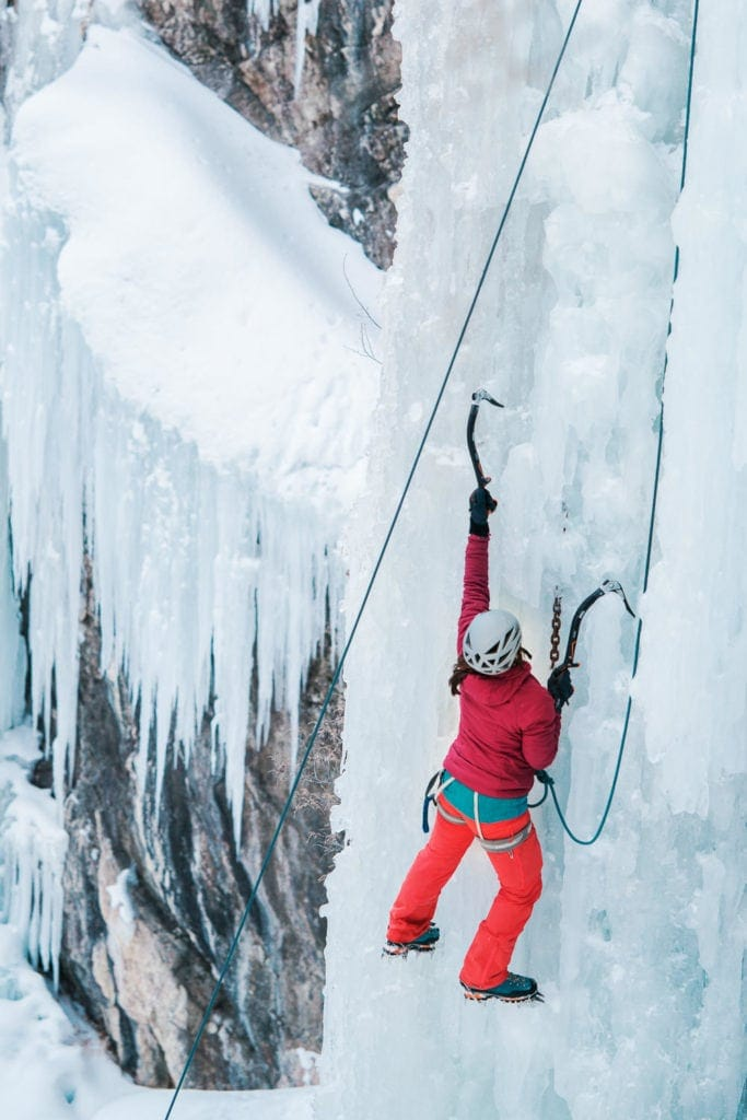 women ice climber in the Ouray Ice Park