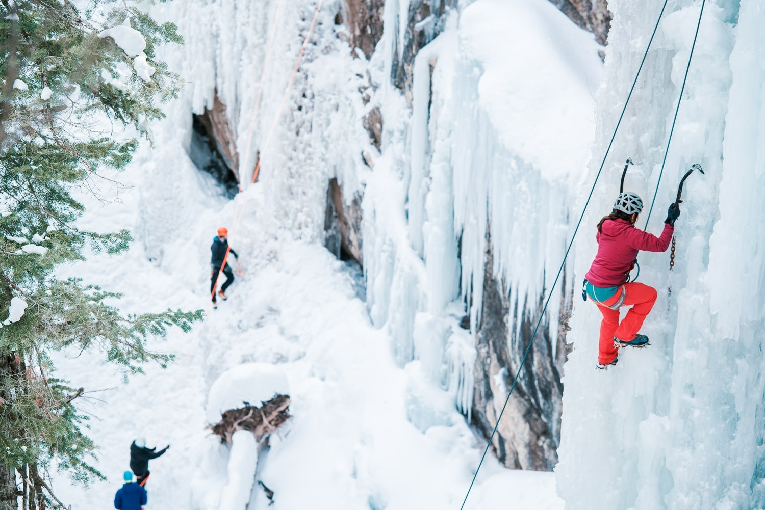 ice climbers in the Ouray Ice Park in Colorado