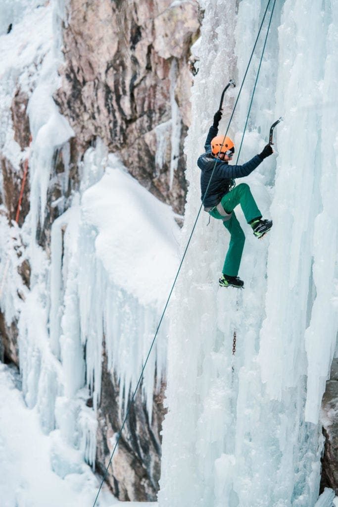 ice climbing in Colorado in a gorge