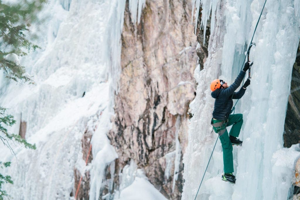 climber on a wall at the 2019 Ouray Ice Festival