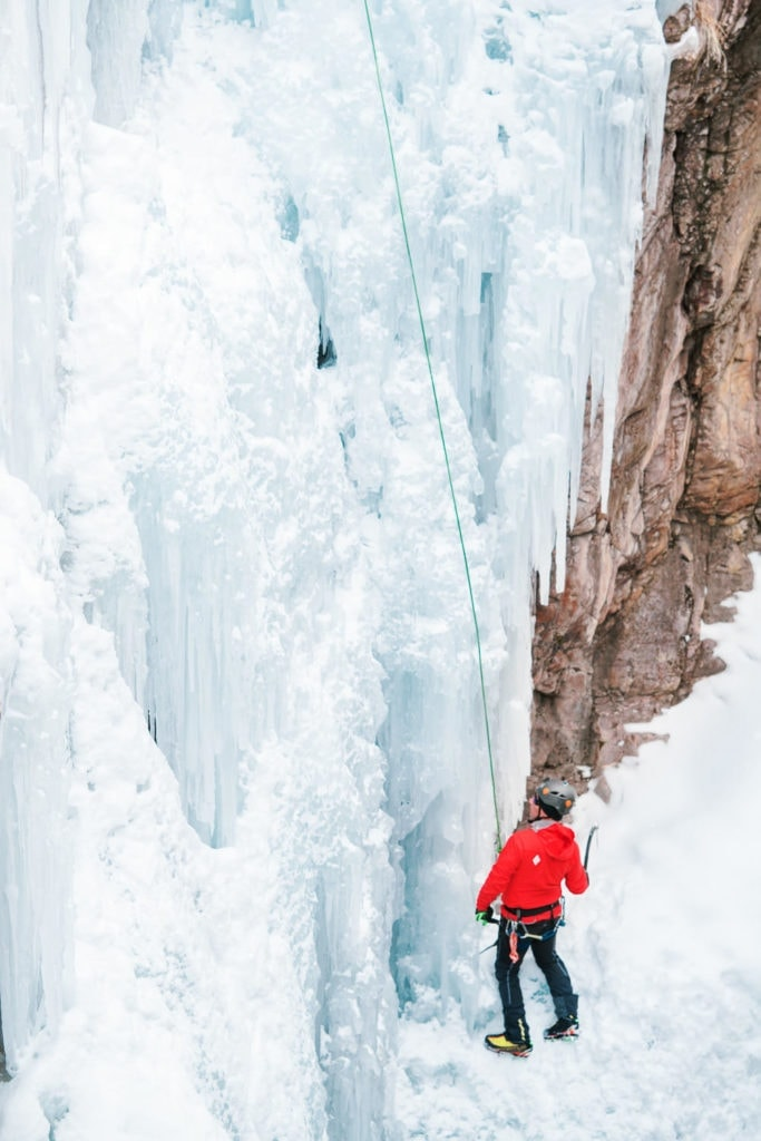 ice climber in a canyon near Ouray, Colorado