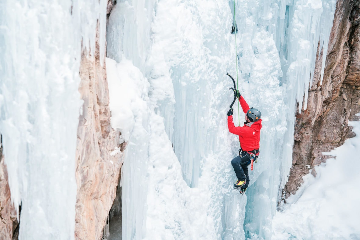 climber in Uncompaghre Gorge in Ouray, CO