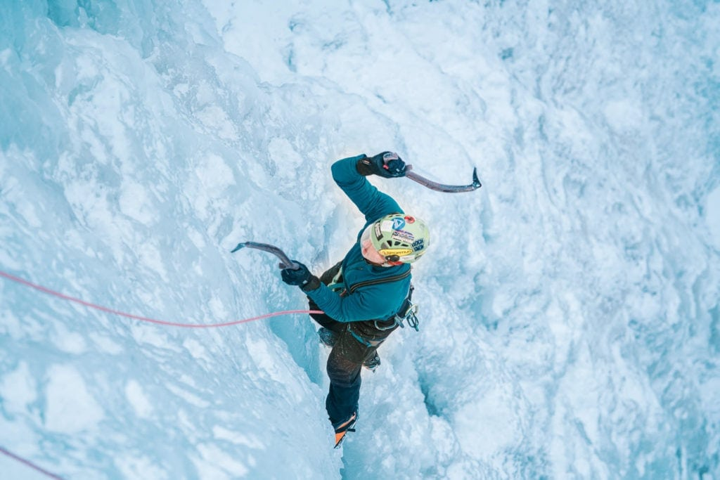 climbing at the Ouray Ice Park