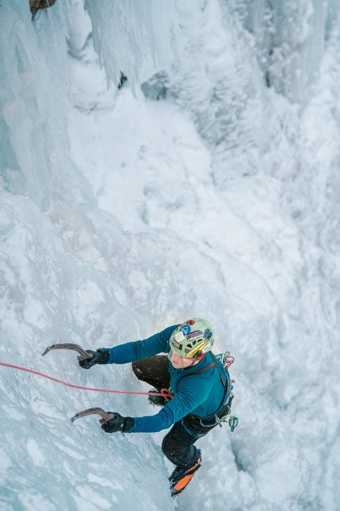 climber at the Ouray Ice Festival 2019
