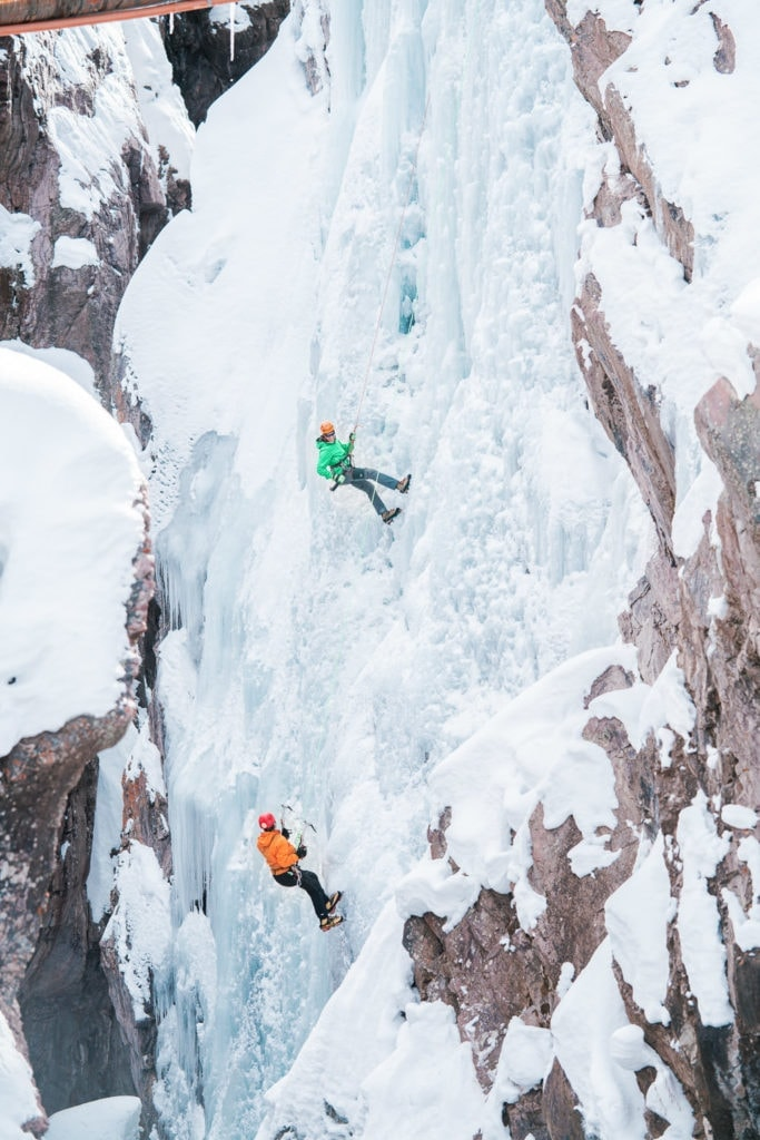 ice climbers in the gorge