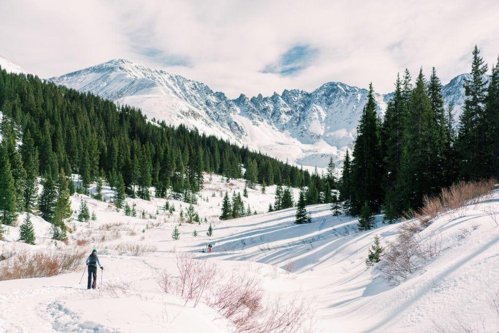 cross country skiing to Mayflower Gulch near Breckenridge, Colorado