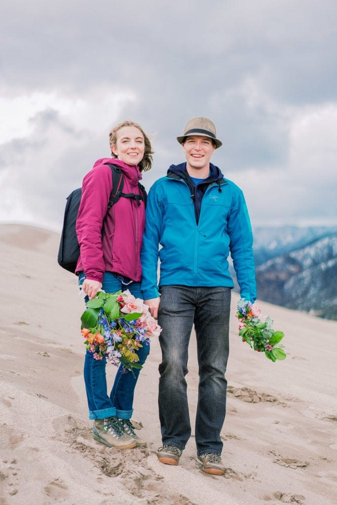 couple before their elopement in the Great Sand Dunes