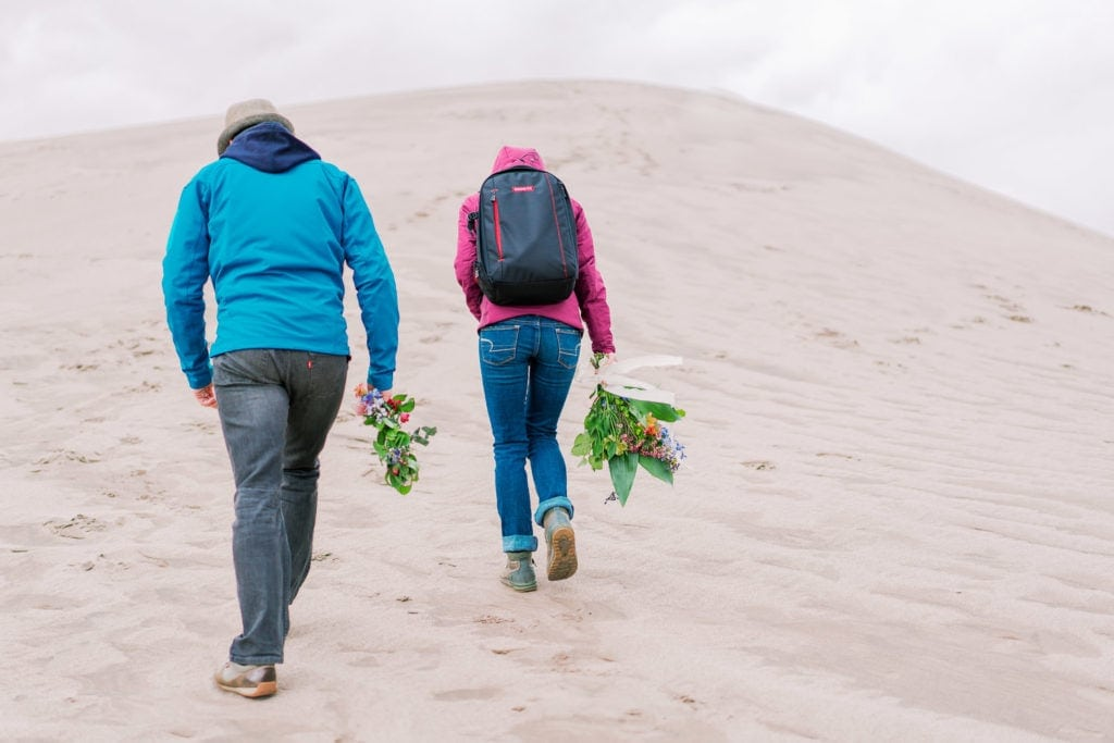 hiking the Great Sand Dunes in Colorado for an elopement