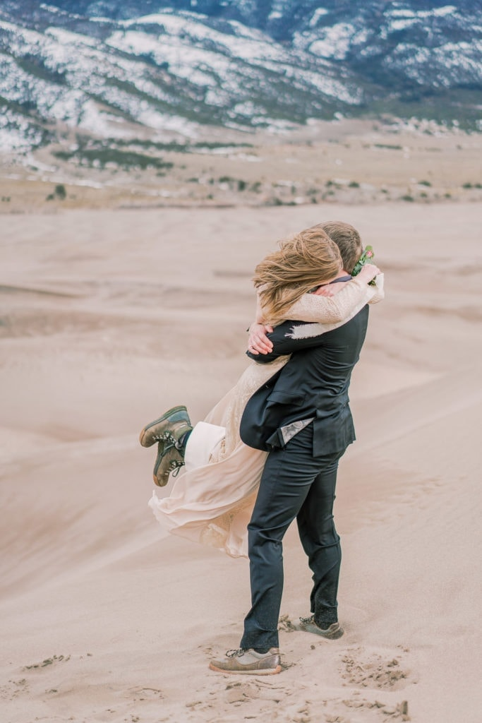 couple hugs during their elopement in Colorado