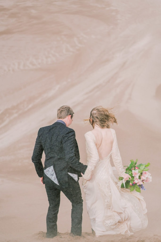 windy elopement in the Great Sand Dunes of Colorado