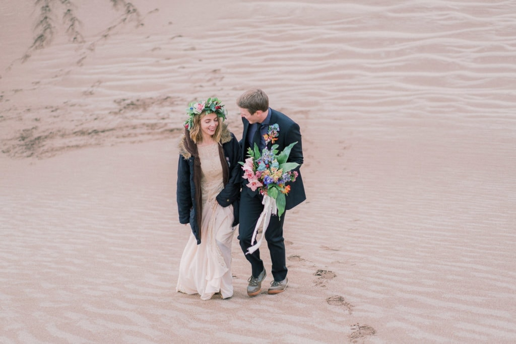 bride and groom elope in Colorado in the Great Sand Dunes