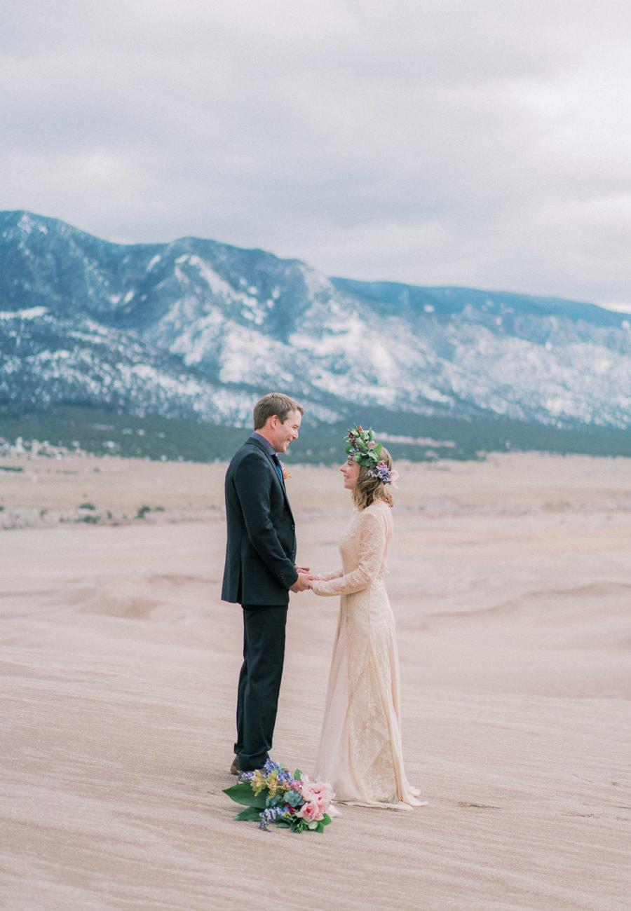 fine art film photography of an elopement