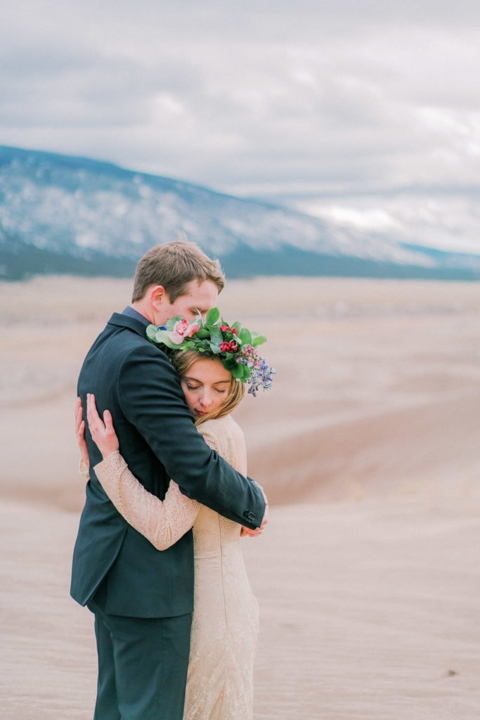 couple hugs during their Colorado elopement near Colorado Springs