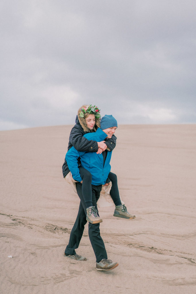 fun elopement in Colorado at the Sand Dunes
