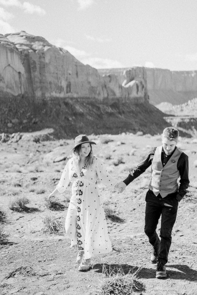 black & white film photography of an elopement in Monument Valley