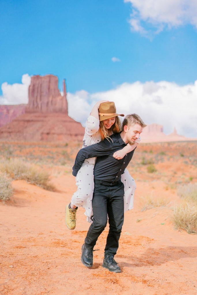 having fun on an adventure session in Monument Valley Arizona
