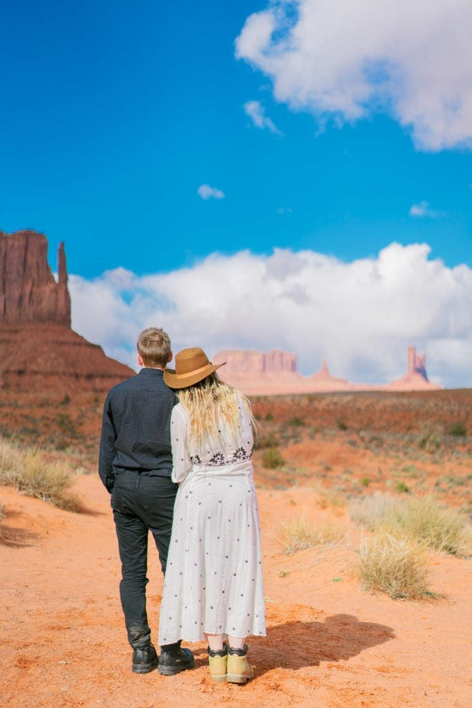 couple looking out over Monument Valley in Arizona