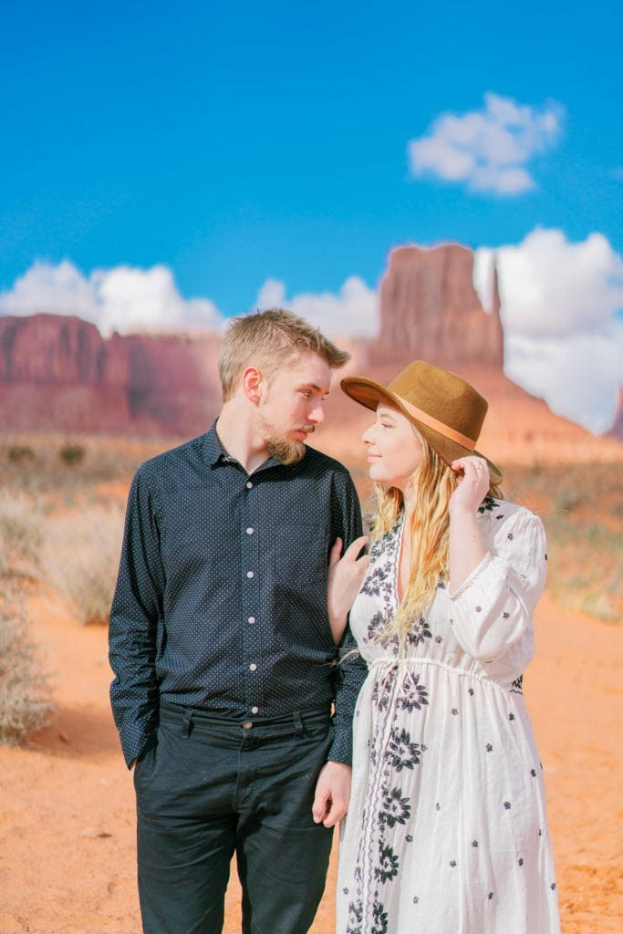 adventurous engagement session in Monument Valley