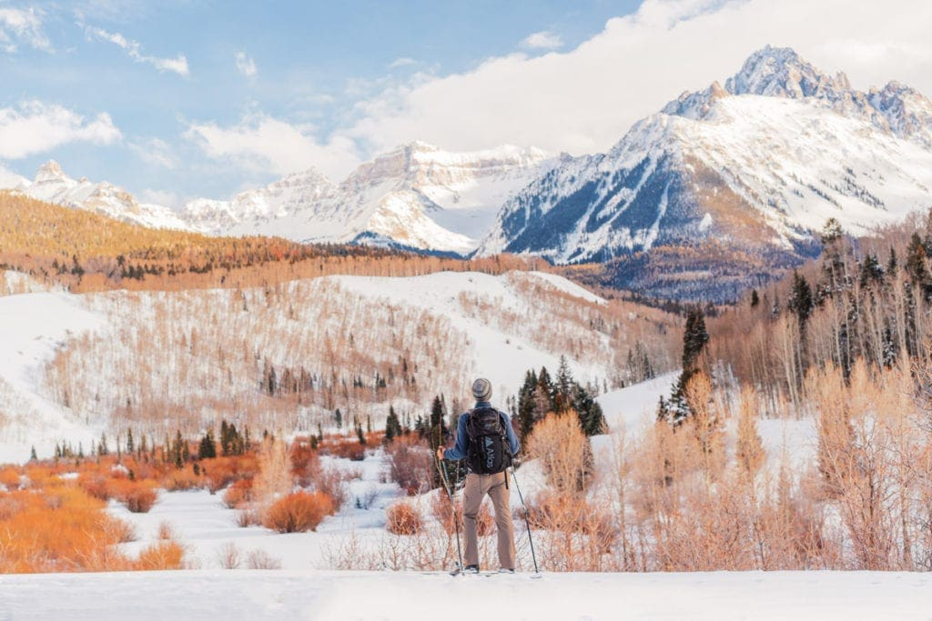 Malachi Lewis at Shell Creek Photography | adventure wedding photographer skiing in the San Juan mountains of Colorado