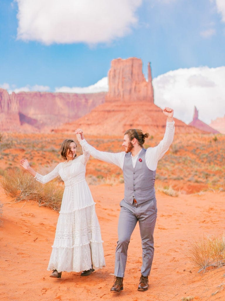 celebration after an elopement in Moab, Utah by Malachi at Shell Creek Photography