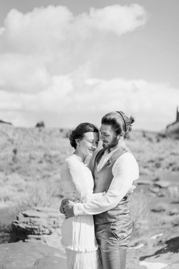 black and white film photography of an elopement in Monument Valley