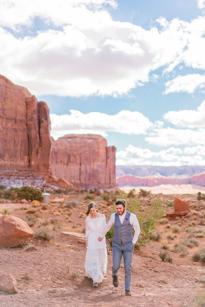 scenic views during an elopement in Monument valley Utah