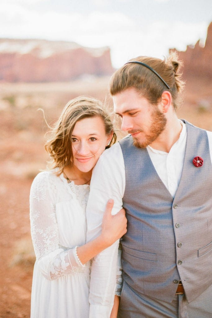 close up photo of a couple on their hiking elopement in Arizona