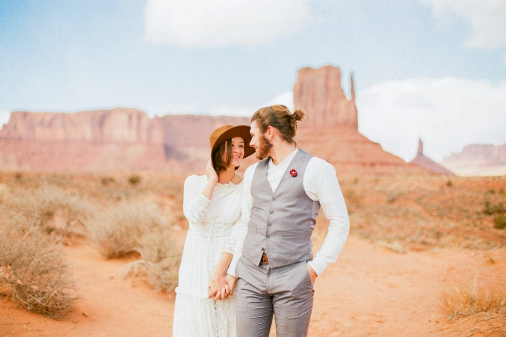 fun hiking elopement in Monument Valley