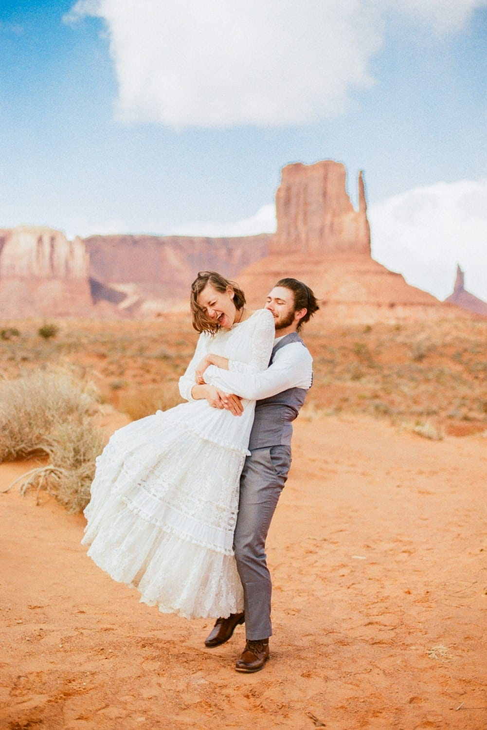 Monument Valley hiking elopement with a fun couple