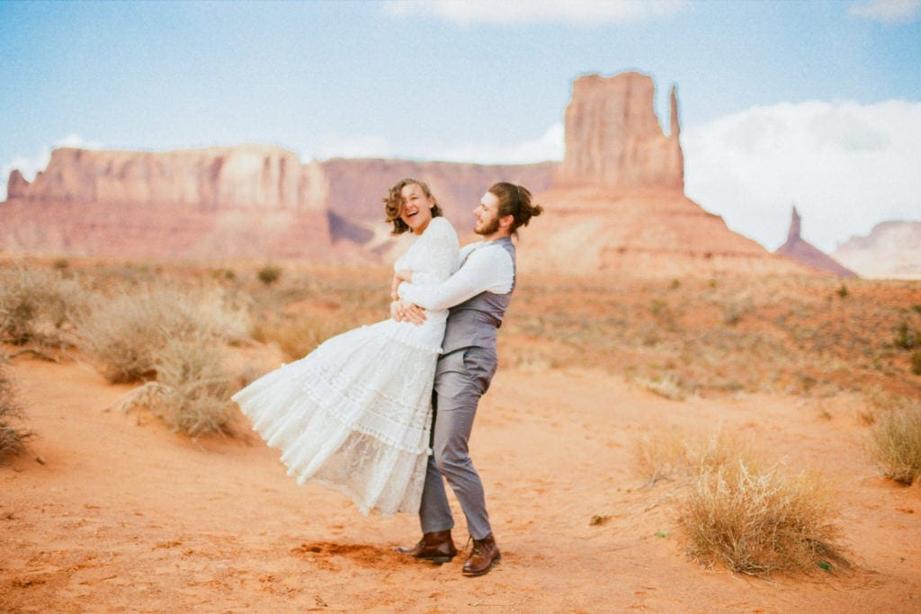 fun couple elopes in Monument Valley Arizona
