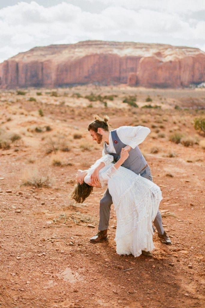 fun loving couple elopes in southwestern Utah