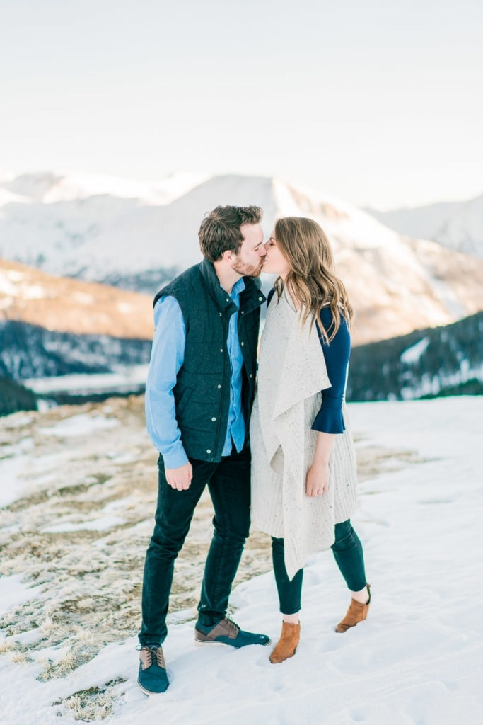 Nate & Kelsey | kissing on an engagement session in the Rocky Mountains of Colorado