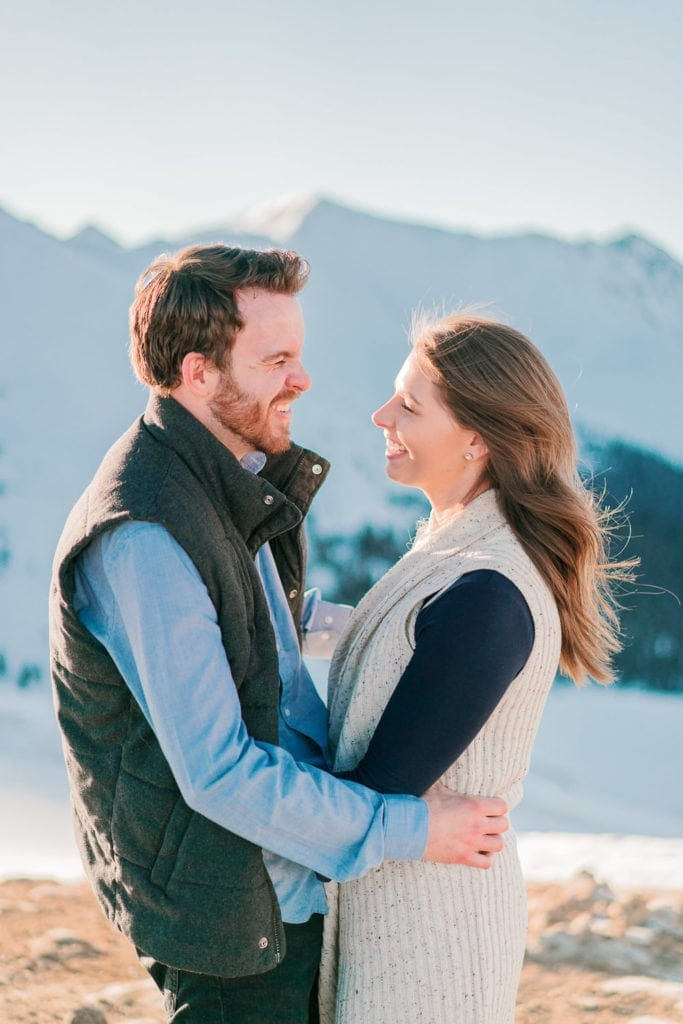 Nate & Kelsey | fun winter engagement session in Colorado at Loveland Pass