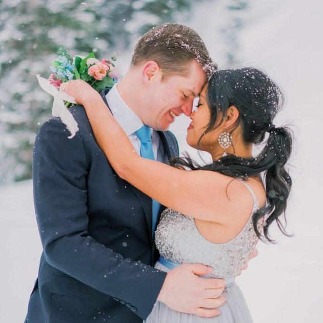 snowy winter elopement photography in Estes Park