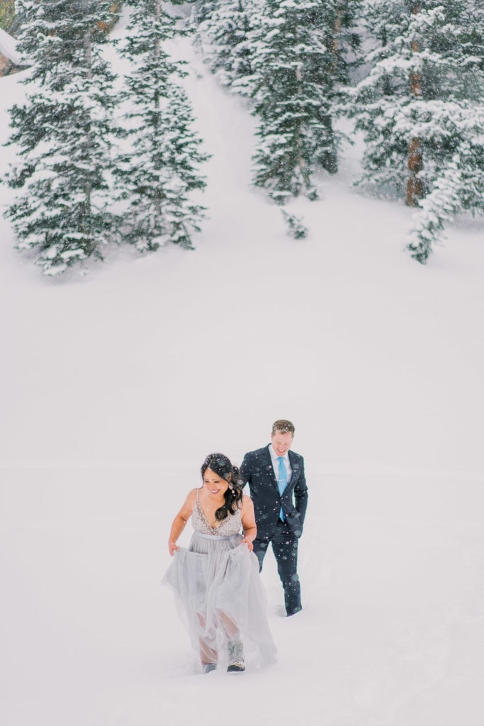 snowy hiking elopement in Rocky Mountain National Park