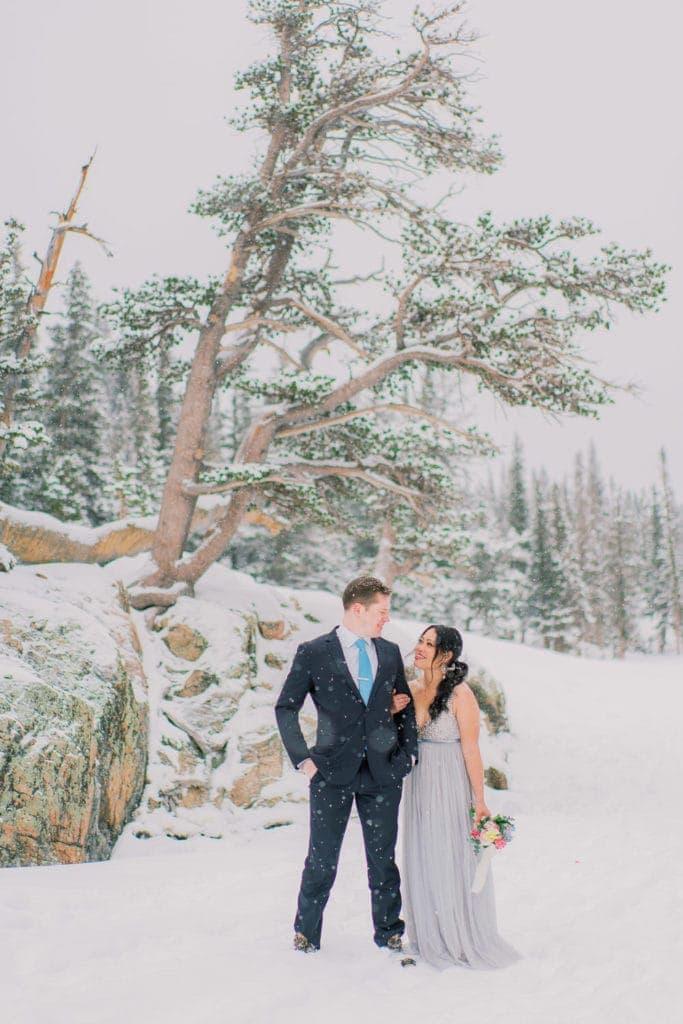 snowy winter elopement on a frozen lake in Rocky Mountain National Park