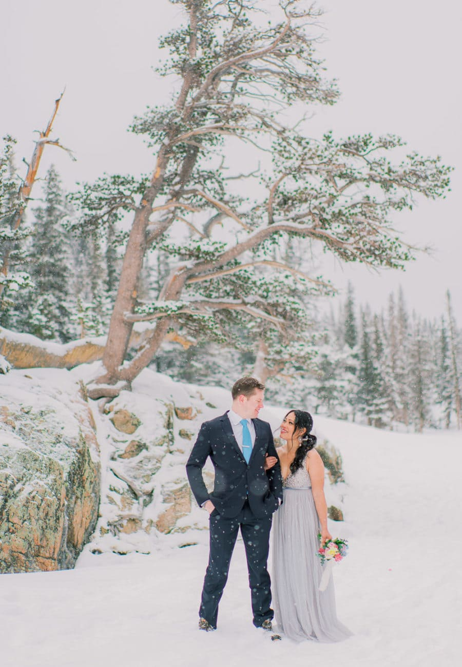 snowy winter elopement on a frozen lake in Rocky Mountain National Park