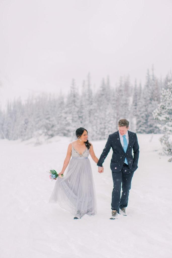 snowy elopement photography in Colorado