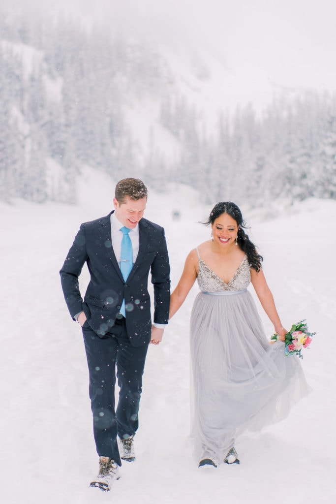 snowy vow renewal in Rocky Mountain National Park