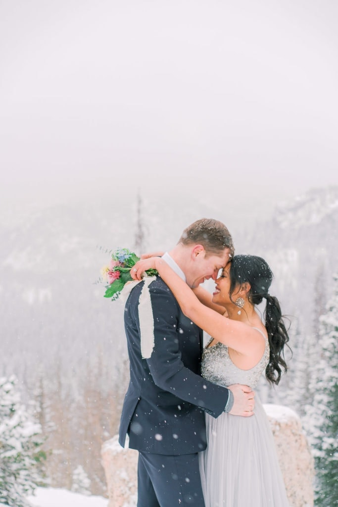 snowy elopement in the mountains of Colorado