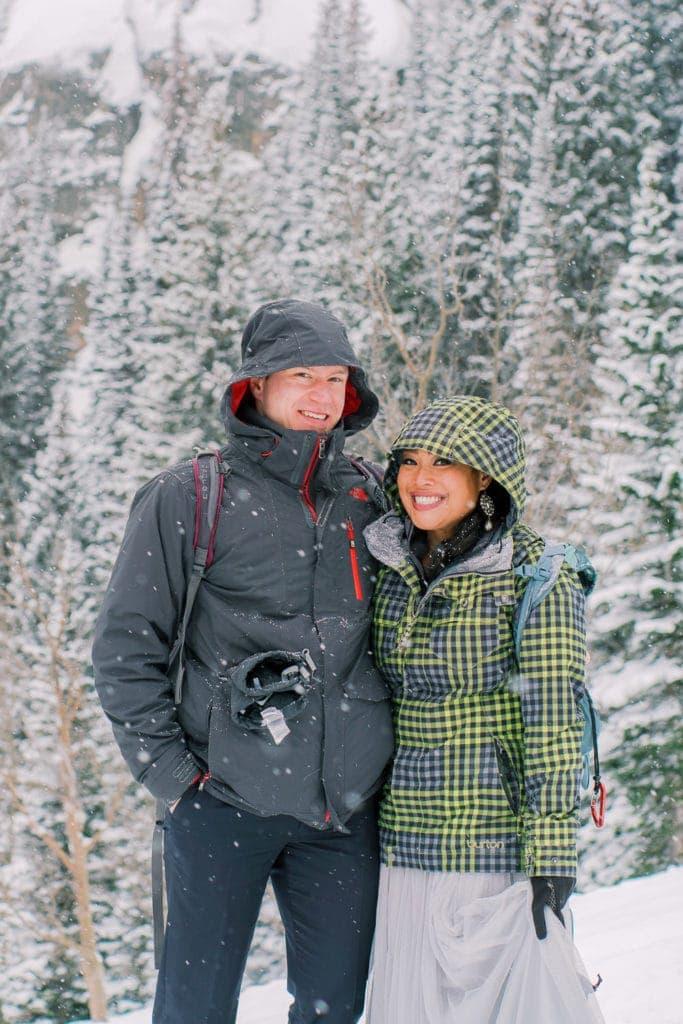 hiking winter elopement in Colorado