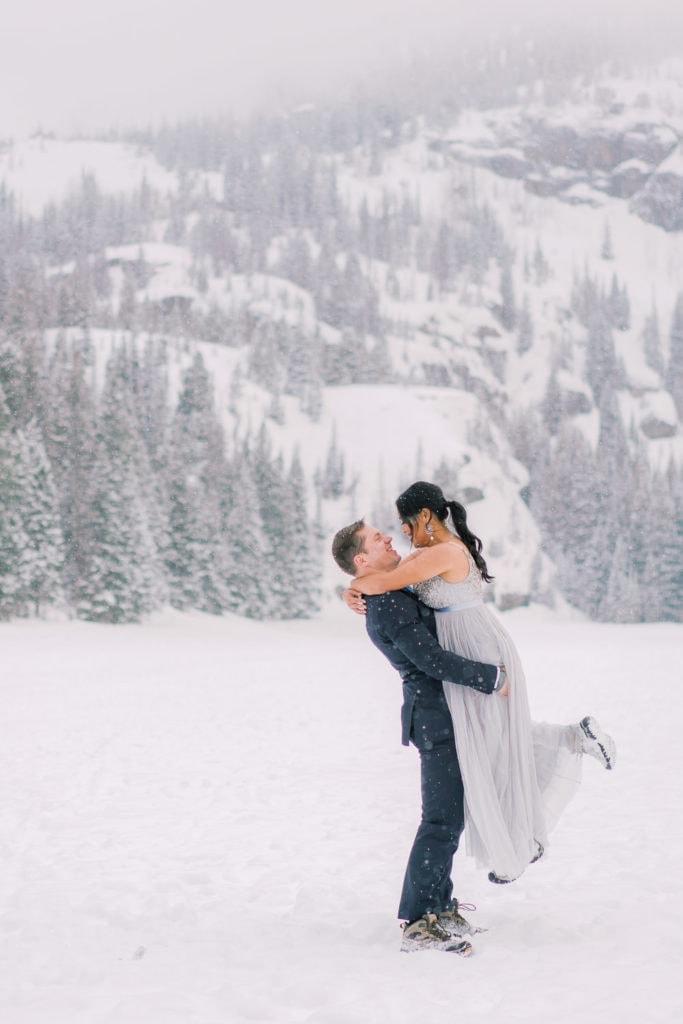 Colorado elopement photography at Bear Lake during winter in Colorado
