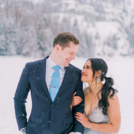 elopement at Bear Lake in Rocky Mountain National Park in winter